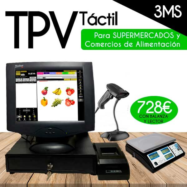 pack tpv tactil dell balanza y lector